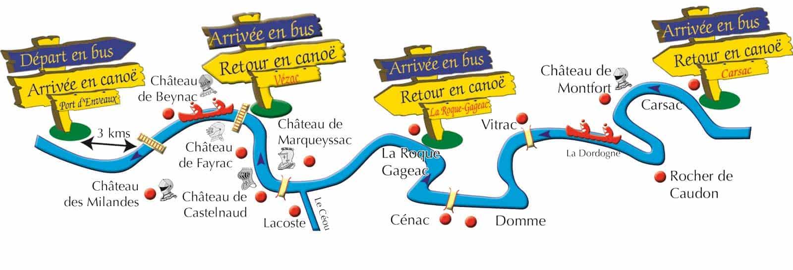 Canoe Dordogne itinerary