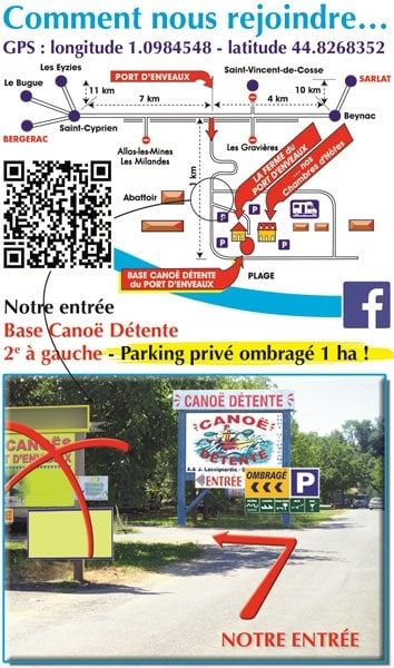 access map canoe base canoe detente in dordogne