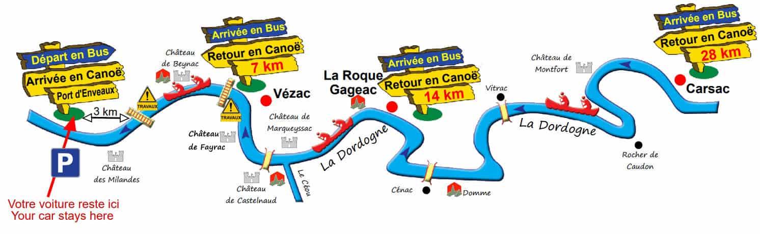 Parcours Canoe Dordogne